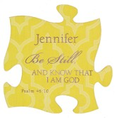 Personalized, Puzzle Magnet, Be Still, Yellow