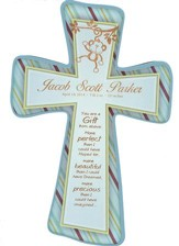 Personalized, Wall Cross, Gift From Above, Small, Blue  With Stripes