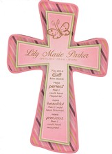 Personalized, Wall Cross, Gift From Above, Small, Pink, With Stripes