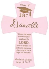Personalized, Wall Cross, Graduation, Small, Pink