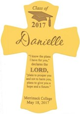 Personalized, Wall Cross, Graduation, Small, Yellow