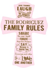 Personalized, Wall Cross, Family Rules, Large, Pink