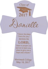 Personalized, Wall Cross, Graduation, Large, Purple