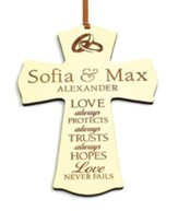 Personalized, Mini Cross Ornament, Love Never Fails,  White
