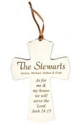 Personalized, Mini Cross Ornament, As For Me, White