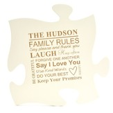Personalized, Puzzle Piece, Family Rules, White
