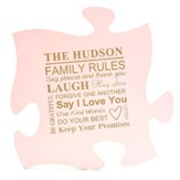Personalized, Puzzle Piece, Family Rules, Pink
