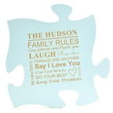 Personalized, Puzzle Piece, Family Rule, Blue
