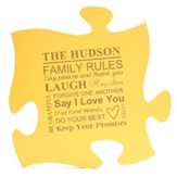 Personalized, Puzzle Piece, Family Rules, Yellow