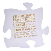 Personalized, Puzzle Piece, Family Rules, Purple