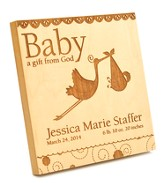 Personalized, Baby A Gift From God, Square Plaque,  Maple