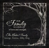 Personalized, Square Plaque, Our Family, Tree, Black