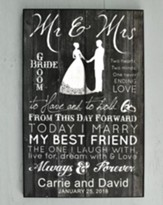 Personalized, Mr. & Mrs. Large Plaque, Black