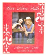 Personalized, Print Photo Frame, Love Never Fails, 5x7, Pink