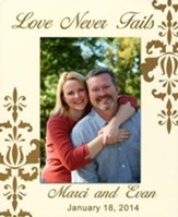 Personalized, Photo Frame, Love Never Fails, 5x7, White