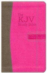 The KJV Study Bible Handy Size--soft leather-look, pink/brown  - Imperfectly Imprinted Bibles