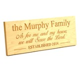 Personalized, Plaque, As For Me and My House, Long, Maple