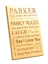 Personalized, Family Rules Plaque, Large, Maple