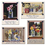 Country Blooms Birthday Cards, Box of 12