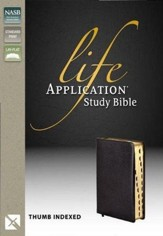 Life Application Study Bible, Bonded leather, Black, Thumb-Indexed  (NASB)