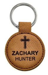 Personalized, Keychain, Round, with Cross, Brown