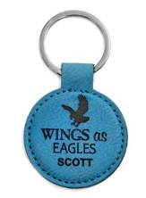 Personalized, Keyring, Round, Eagle, Teal