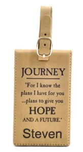 Personalized, Luggage Tag, For I Know, Tan