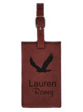 Personalized, Leather Luggage Tag, Eagle, Red