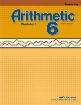 Abeka Arithmetic 6 Work-text Answer  Key, Fourth Edition