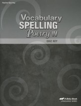 Abeka Vocabulary, Spelling, & Poetry IV Quizzes Key