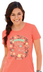 Grace, Short Sleeve Missy Fit Tee Shirt, Coral Silk,  Small