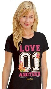 Love 01, Short Sleeve Missy Fit Tee Shirt, Black,   Large