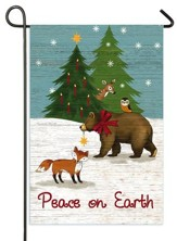 Peace On Earth, Woodland Winter Flag, Small