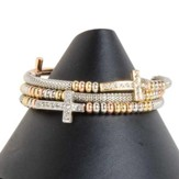 Sideways Cross Wire Wrap Bracelet, Silver, Gold, and Crystal
