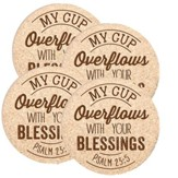 My Cup Overflows With Your Blessings Coasters, Set of 4