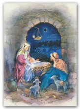 Manger, Foil Christmas Cards, Box of 12