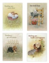 Fuzzy Friends Children's Get Well Cards, Box of 12