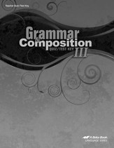 Abeka Grammar & Composition III  Quizzes & Tests Key