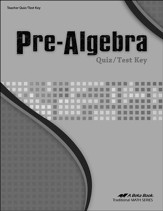 Pre-Algebra Quizzes and Tests Key