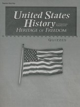 Abeka United States History in  Christian Perspective:   Heritage of Freedom Quizzes Key