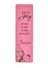 Personalized, Leather Bookmark, Joy, Pink