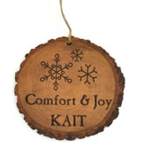 Personalized, Tree Bark Ornament, Comfort and Joy