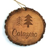 Personalized, Tree Bark Ornament, with Trees
