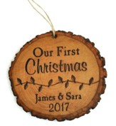 Personalized, Tree Bark Ornament, Our First Christmas