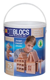 Citiblocs, Natural Wood Building Blocks Set in Tub, 75 pcs
