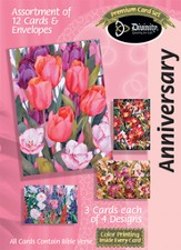 Floral Anniversary Cards, Box of 12