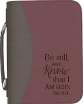 Be Still and Know Bible Cover, Purple and Gray, Large