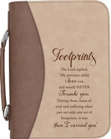 Footprints Bible Cover, Brown, Large