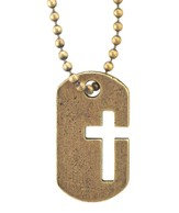 Dog Tag Cross Necklace, Brass