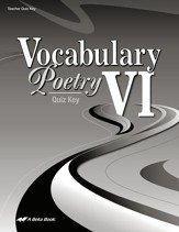 Abeka Vocabulary & Poetry VI Quiz  Key